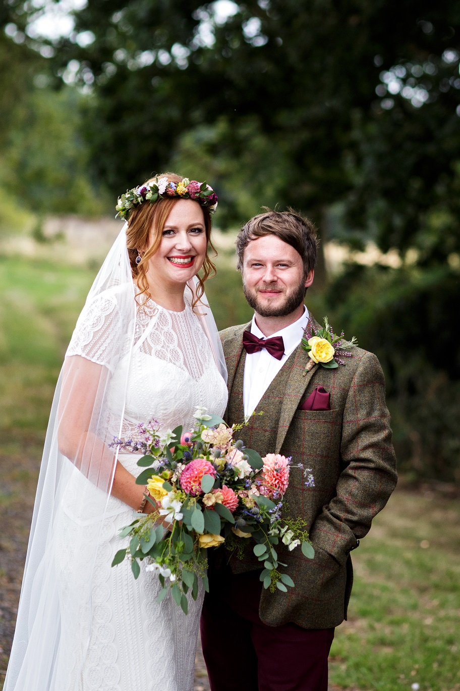 oho bride and groom at Escrick Park in York