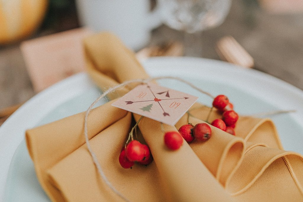 Autumnal place setting inspiration at Skipbridge Country Weddings in York