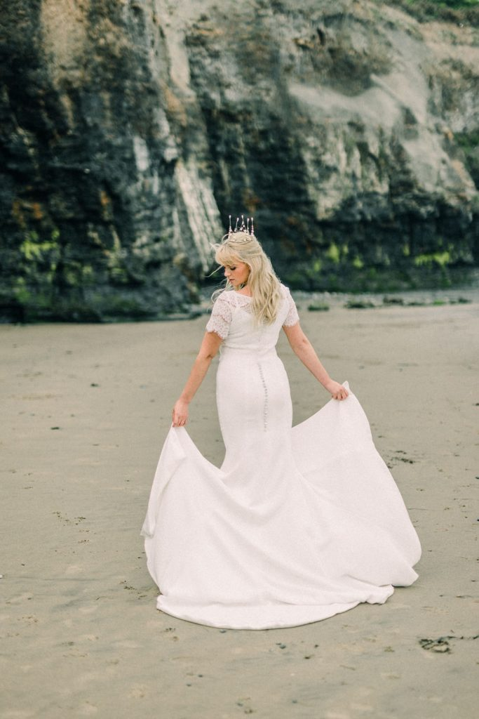 Beach bride in Whitby, Yorkshire
