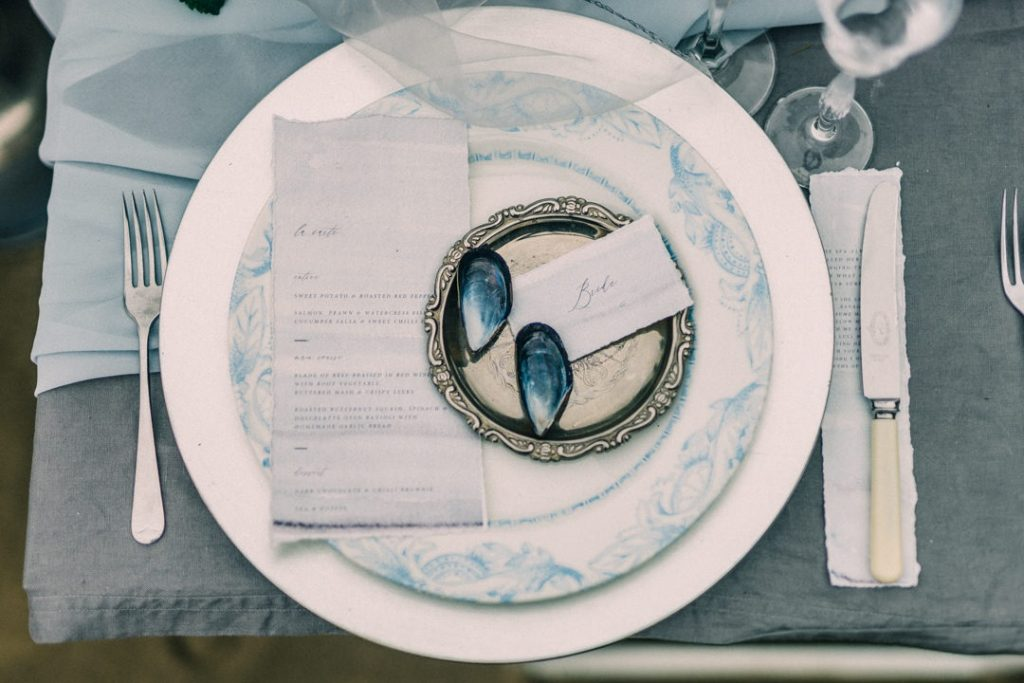 Beach inspired wedding table setting inspiration