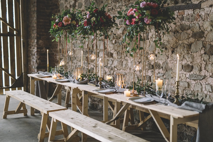 Beautiful styling by Suzanne Oddy Design and flowers by River and Rose at Camp Katur