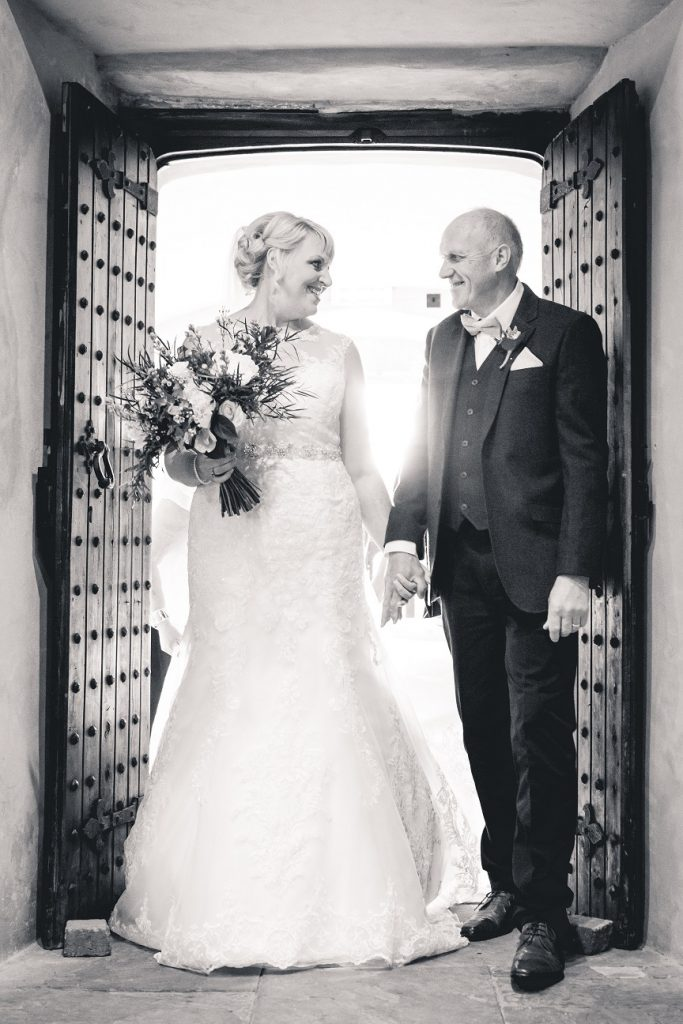 Bride with her father on her wedding at The Priest's House