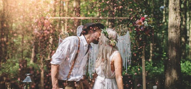 Confetti wedding shot at Camp Katur