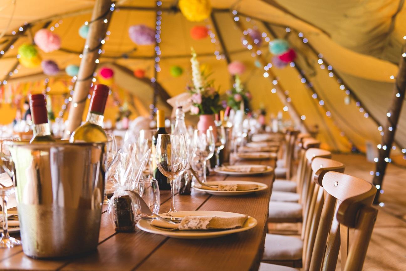 DIY wedding teepee details