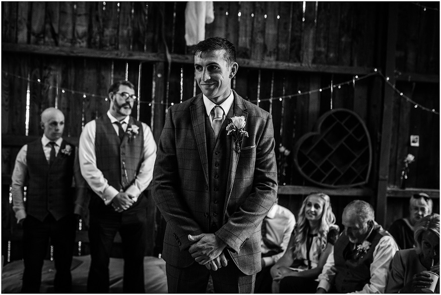 Groom on his wedding day at Deepdale Farm in York