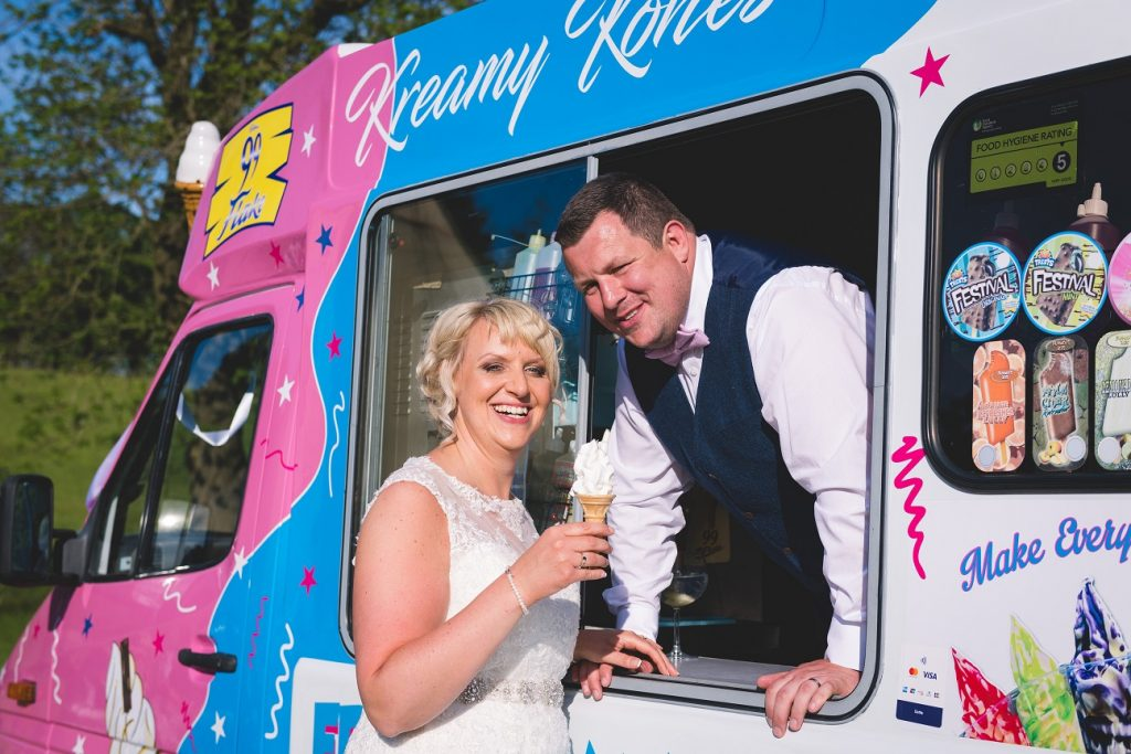 Ice cream van at teepee wedding in Stirton, Skipton