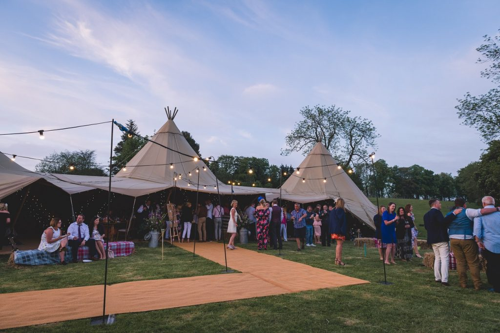 Outdoor teepee wedding in Skipton, North Yorkshire