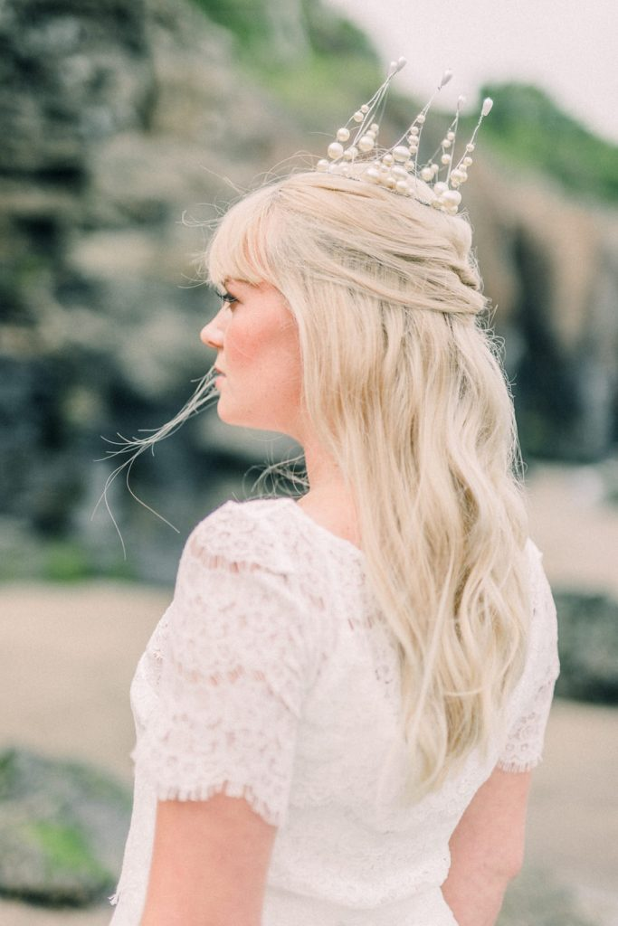 Pearl wedding crown by Thomasina Brides