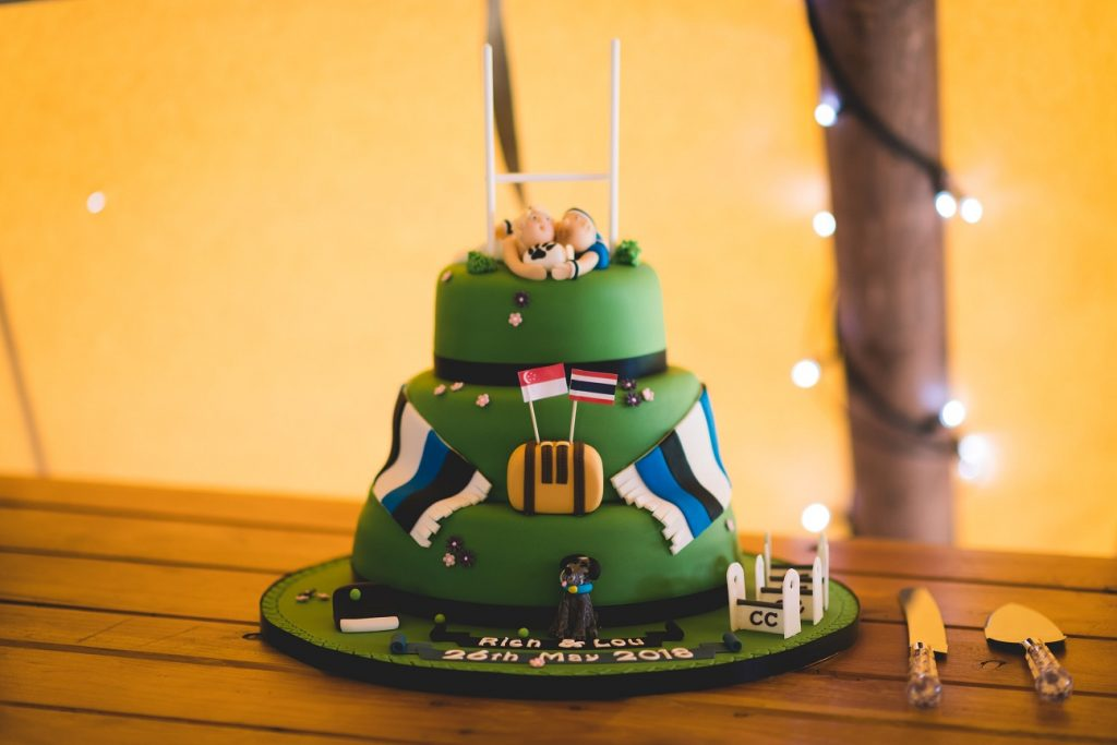 Rugby themed wedding cake
