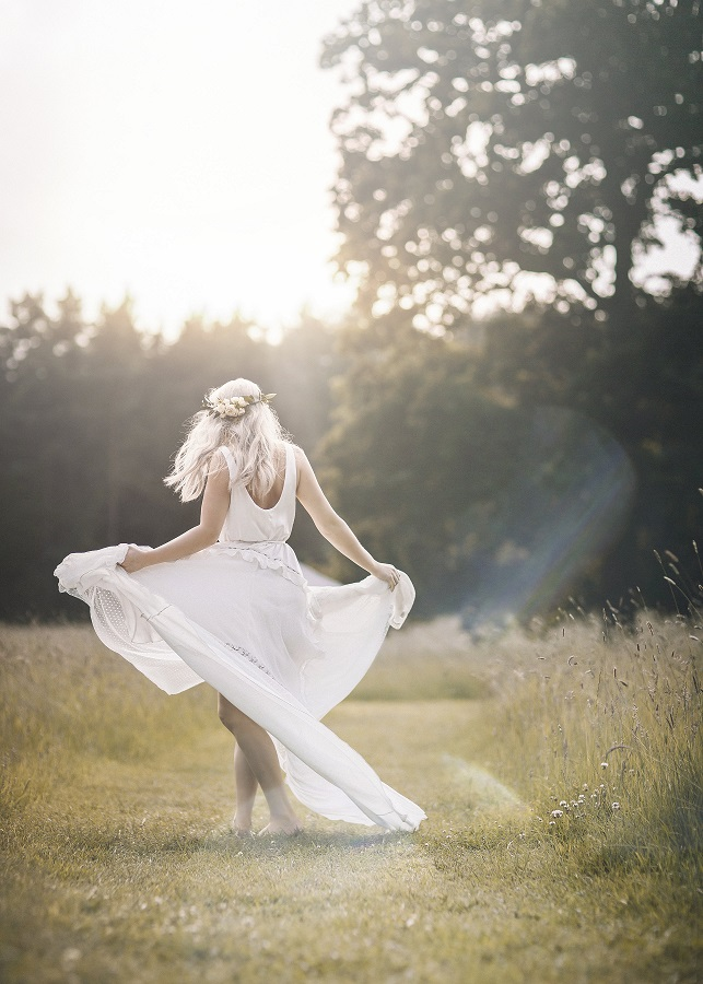 Stunning bohemian inspired wedding dress available at The Aisle in Ilkley