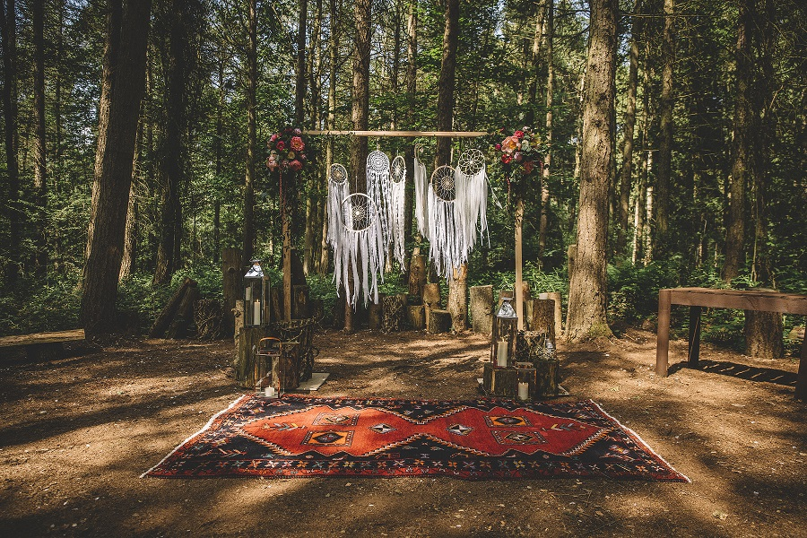 Wedding ceremony backdrop inspiration at Camp Katur in North Yorkshire