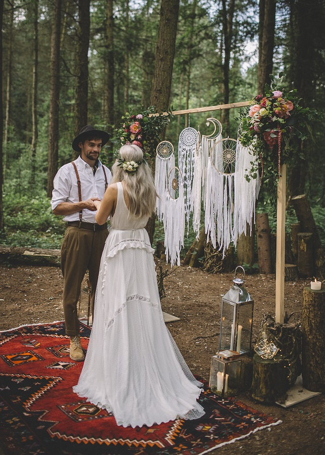 Woodland ceremony at Camp Katur in North Yorkshire