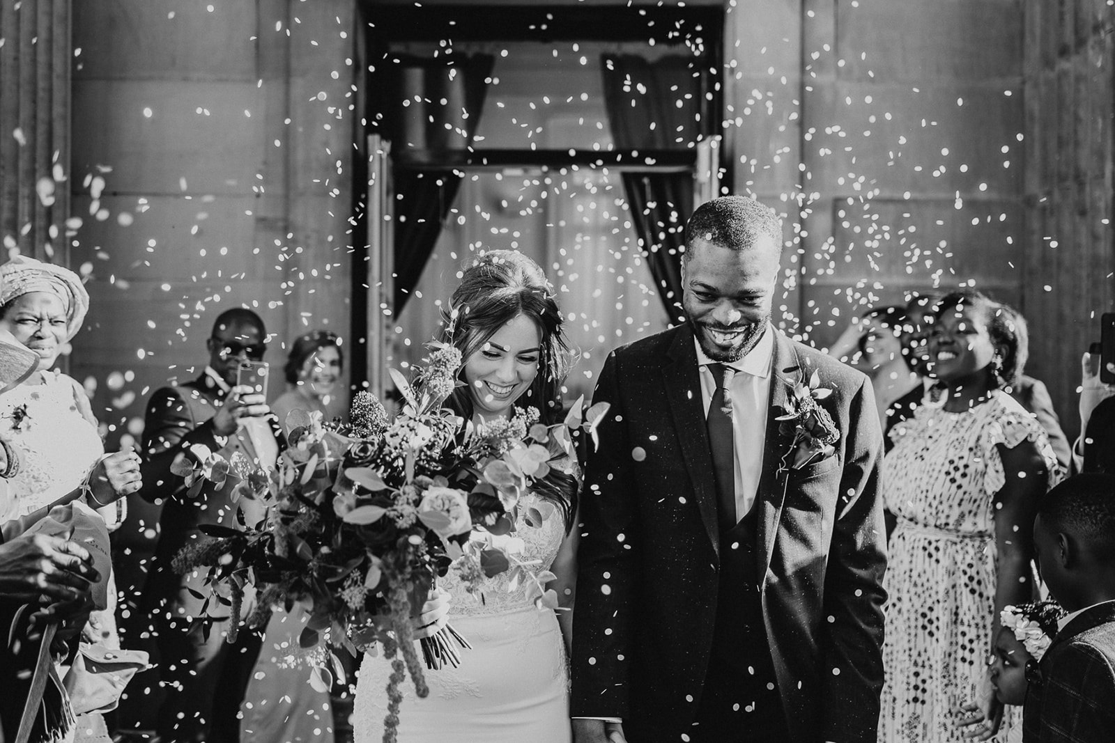 Black and white confetti shot at Leeds Town Hall