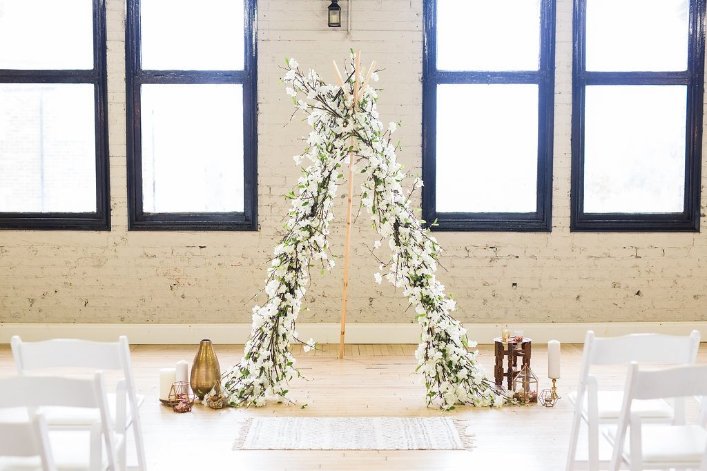 Bohemian and industrial wedding ceremony inspiration