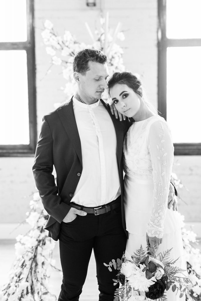 Edgy bride and groom at industrial wedding venue in Yorkshire