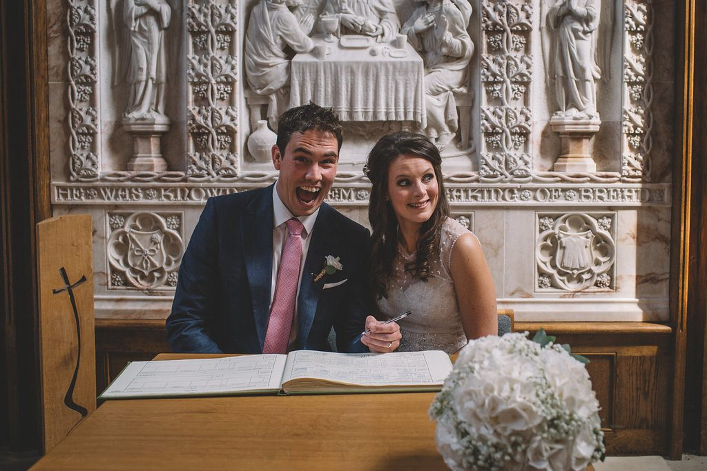 Bride and groom just married at St Marks church in Harrogate
