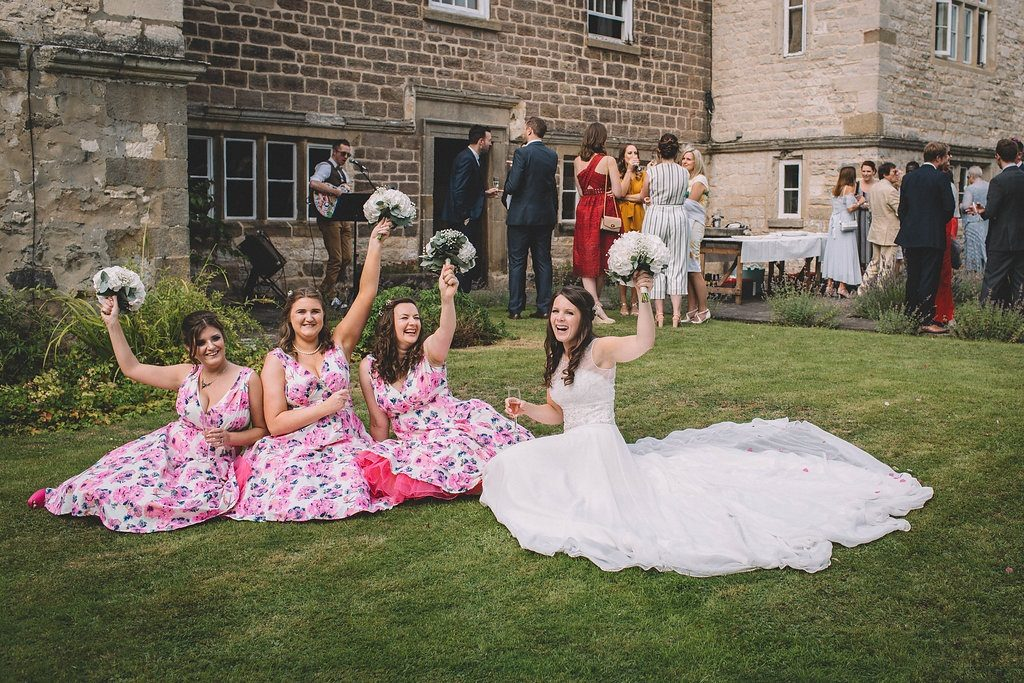Bride and her bridesmaids at Markington Hall
