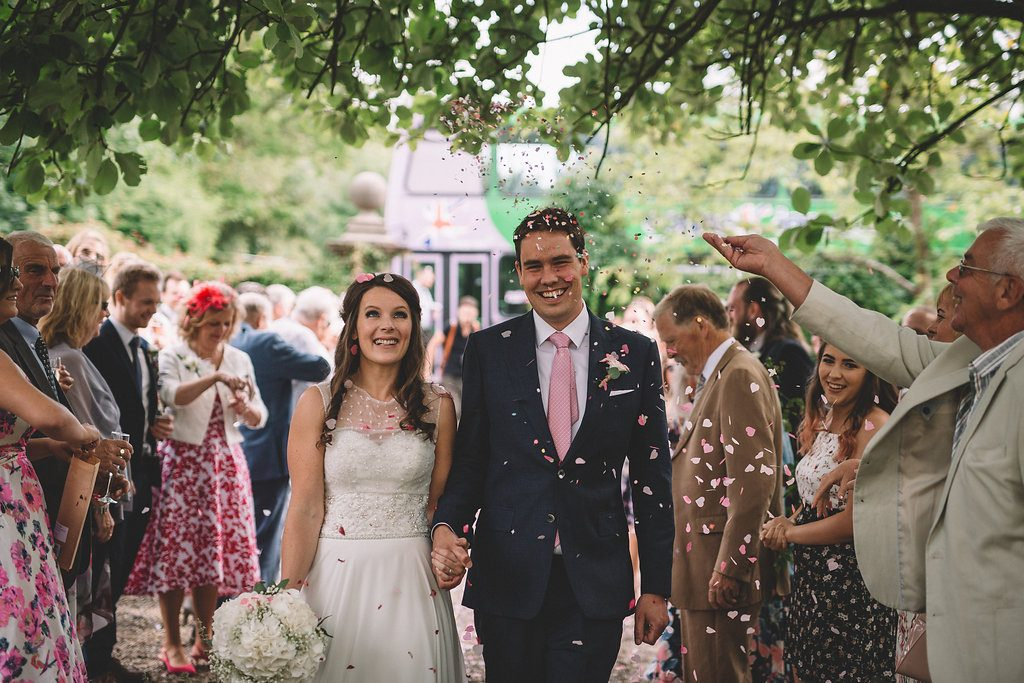 Confetti shot at Markington Hall, North Yorkshire