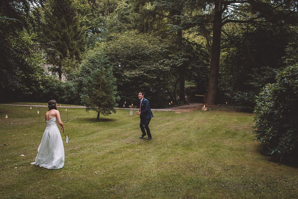 Wedding garden games at Markington Hall in North Yorkshire