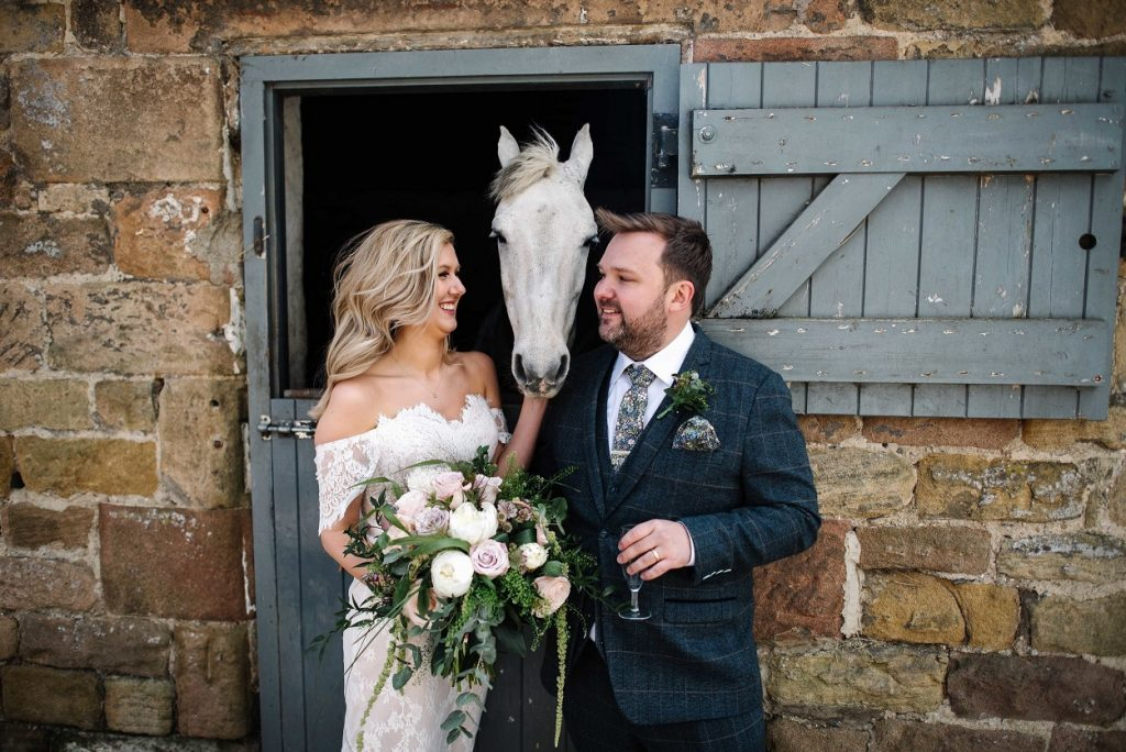 Bride and groom at Gratton Grange Farm