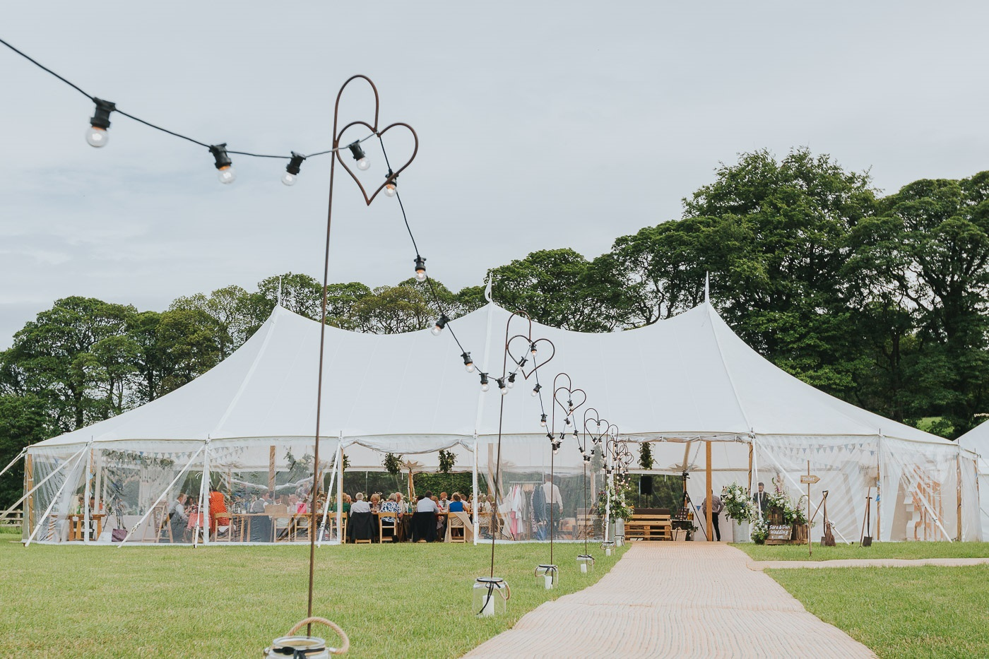 Outdoor marquee wedding in Beamsley