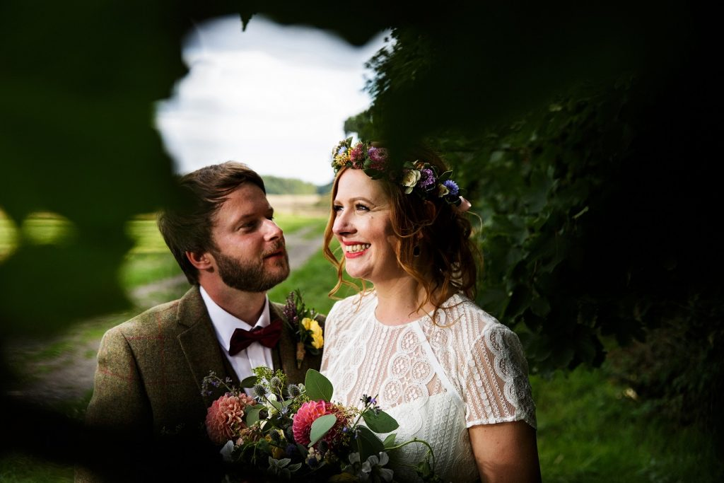 Happy couple just married at Escrick Park Estate in York